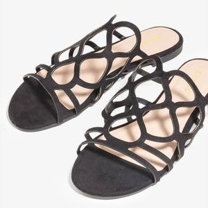 NEW Black Cut Out Upper Open Toes Slides Sandals